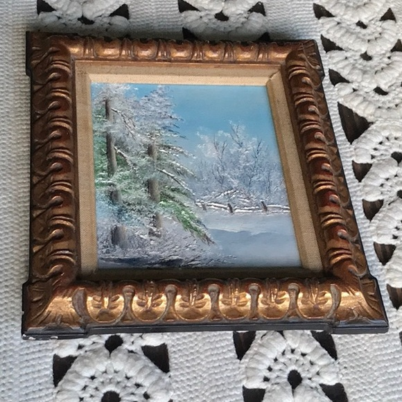 Vintage Other - Vintage Painted Canvas Snowy Tree Scene Wood Frame
